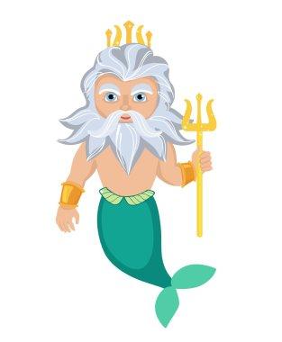 Cartoon Poseidon. Vector clip art illustration