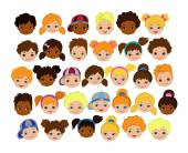 Set of cartoon childrens faces. Cartoon child face icon.