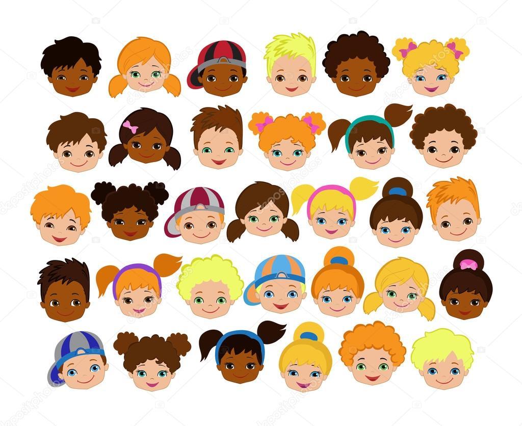 Dibujos Caras De Niños Felices Animadas: Conjunto De Rostos De Crianças Dos Desenhos Animados
