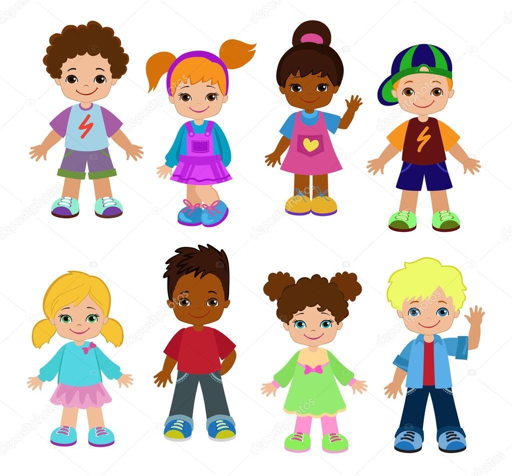 Conjunto de dibujos animados los niños 3bfcb7fbce58