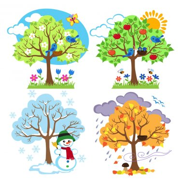 """Картина, постер, плакат, фотообои """"Четыре сезона деревьев, клипарт и вектор с весной, летом, осенью и зимой деревья"""", артикул 83195006"""