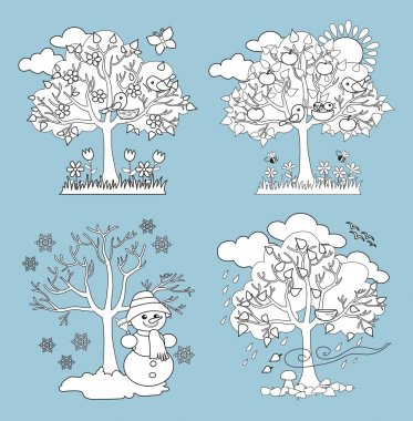 Four Seasons Trees Clipart and Vector with Spring, Summer, Fall and Winter Trees. Coloring. Vector Illustration
