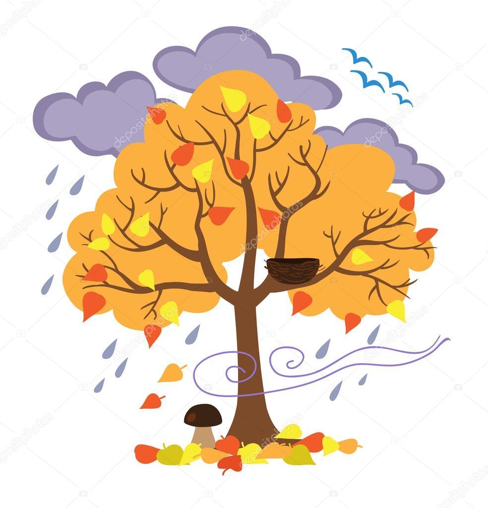 Sonbahar Ağaç Kuşlar Mevsim Sonbahar Belirtileri Uçup Gitti