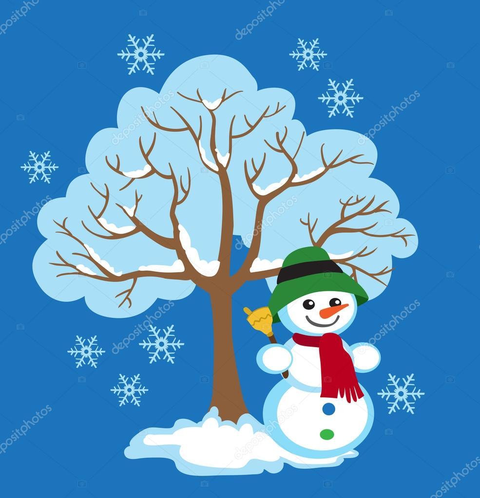Kış Ağaç Neşeli Kardan Adam Kış Mevsimlik Belirtileri Vektör