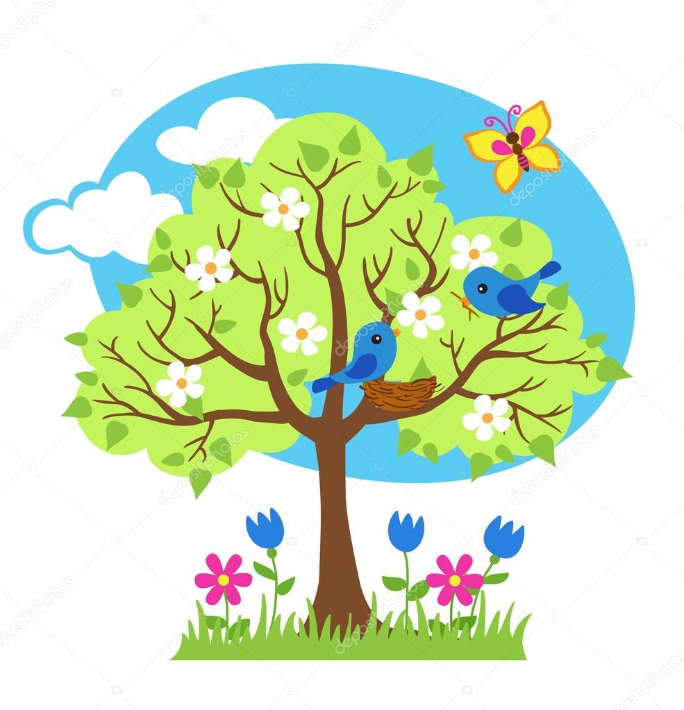 Spring tree, birds build nests, seasonal signs of spring. Vector illustration.