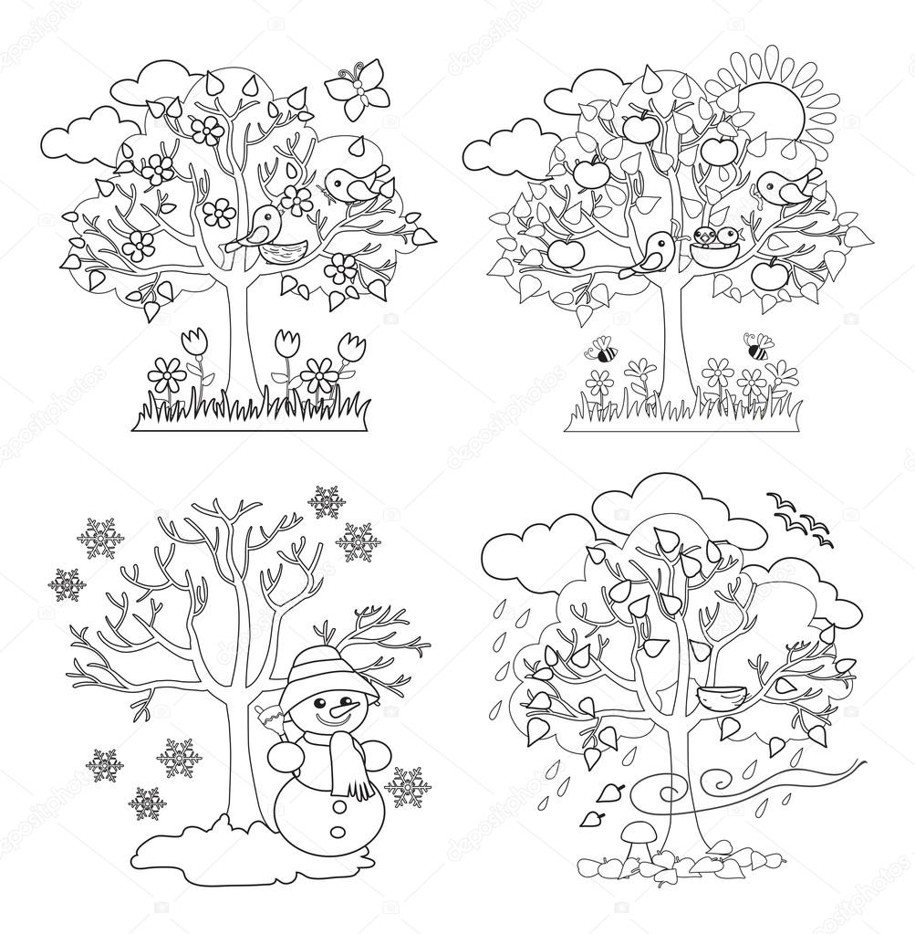 Four Seasons Trees Clipart and Vector with Spring, Summer, Fall ...