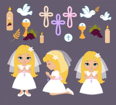 Set of design elements for First Communion for girls
