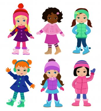 Set of characters funny girls in winter isolated on white background . Winter clothes.