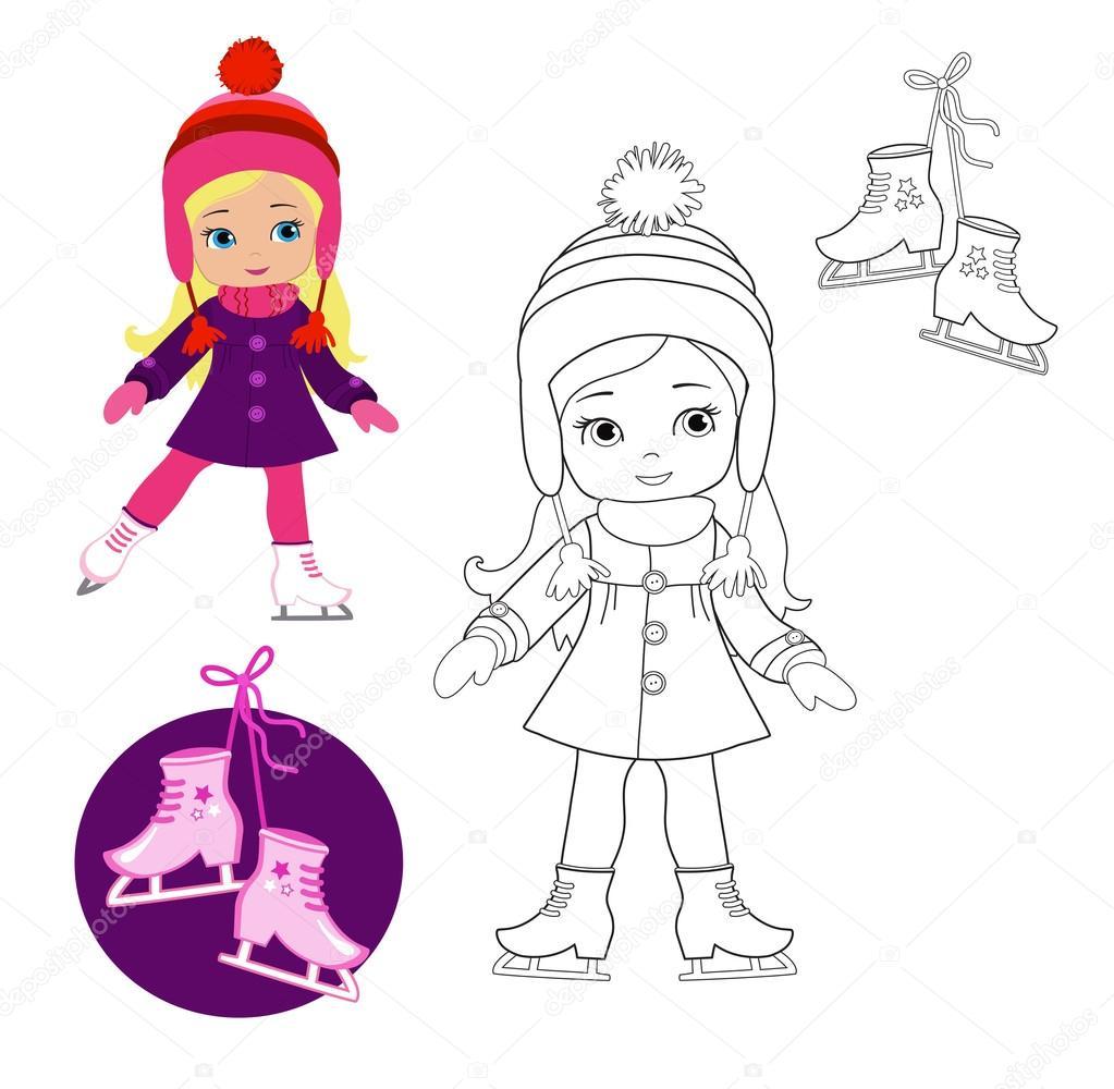 libro da colorare con abiti invernali u2014 vettoriali stock clairev