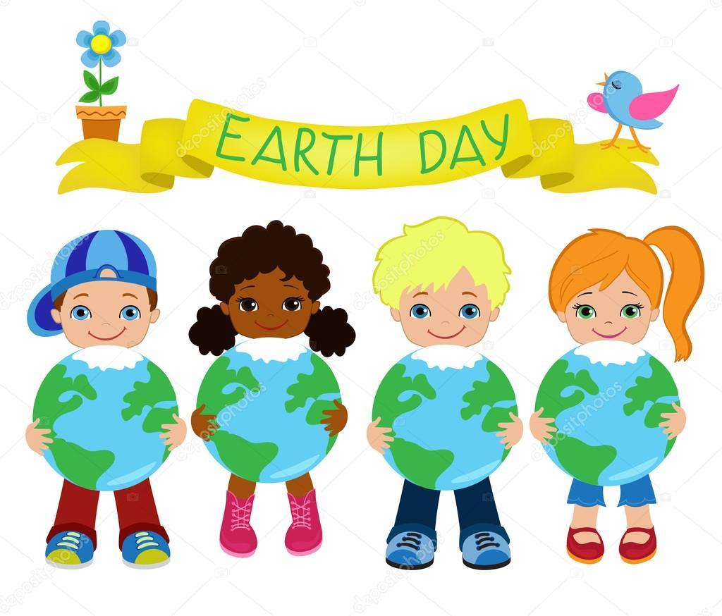 Glückliche Kinder feiern Tag der Erde — Stockvektor © Sandylevtov ...