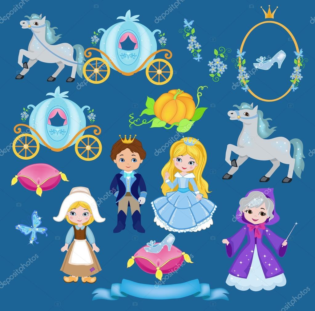 Cinderella vector illustration set