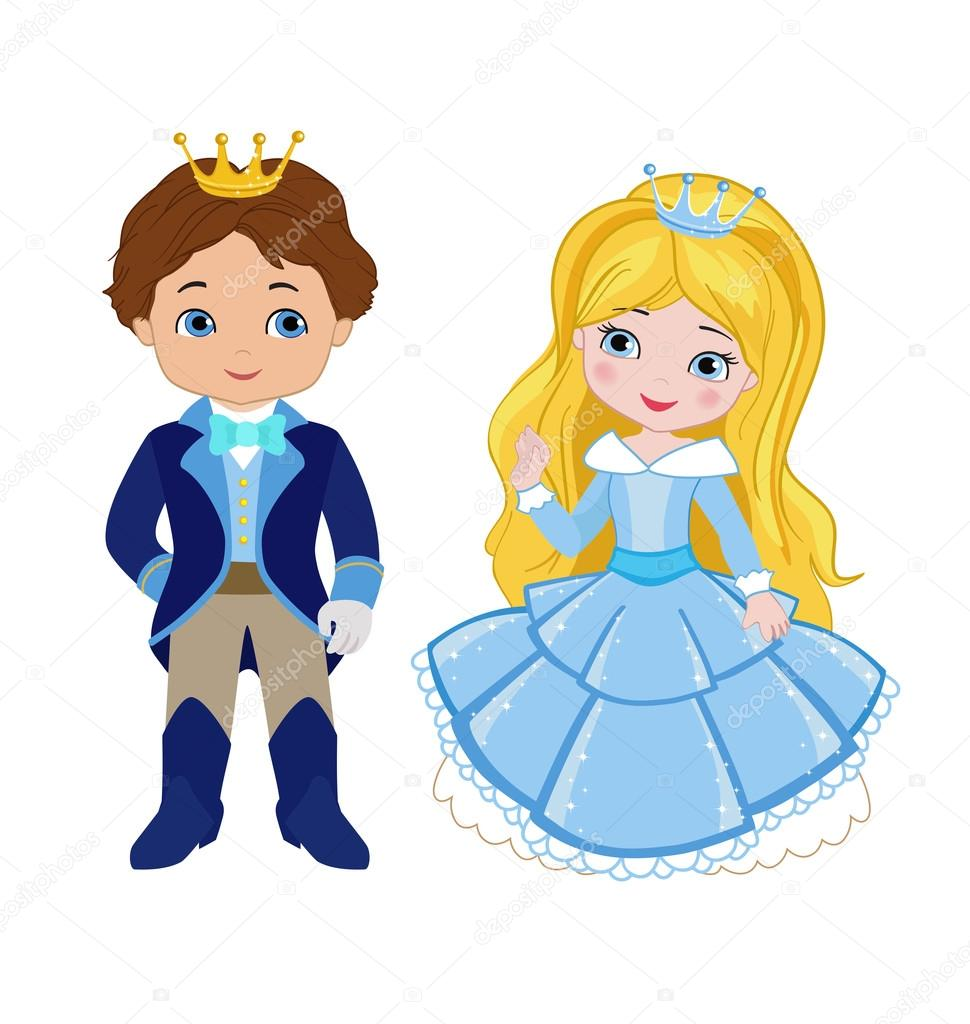 çok şirin Prens Ve Prenses çizimi Stok Vektör Sandylevtov 87919614