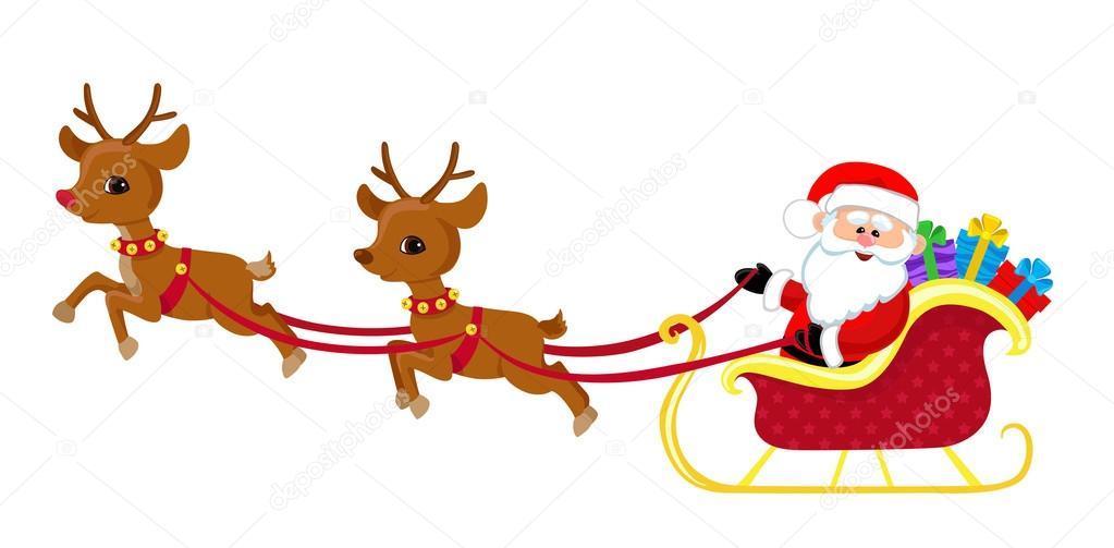 cartoon illustration of santa claus in his sleigh stock vector