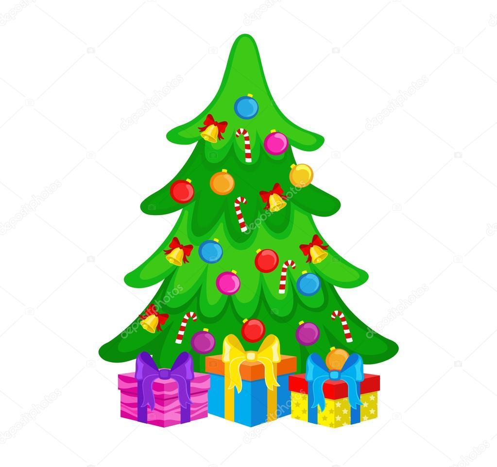 Vektor-Illustration - Weihnachtsbaum mit Geschenk-Boxen ...