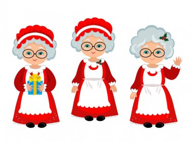 Happy Mrs. Claus . Cartoon Vector Illustration.