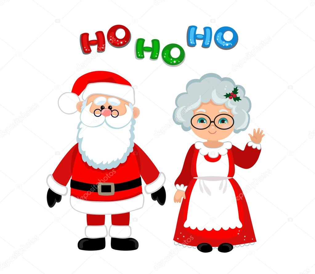Santa And Mrs Claus Standing Christmas Stock Vector