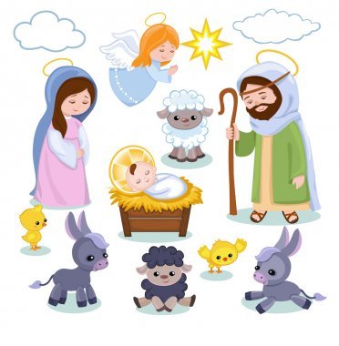 Set of Christmas scene elements. Cartoon nativity  holy family.