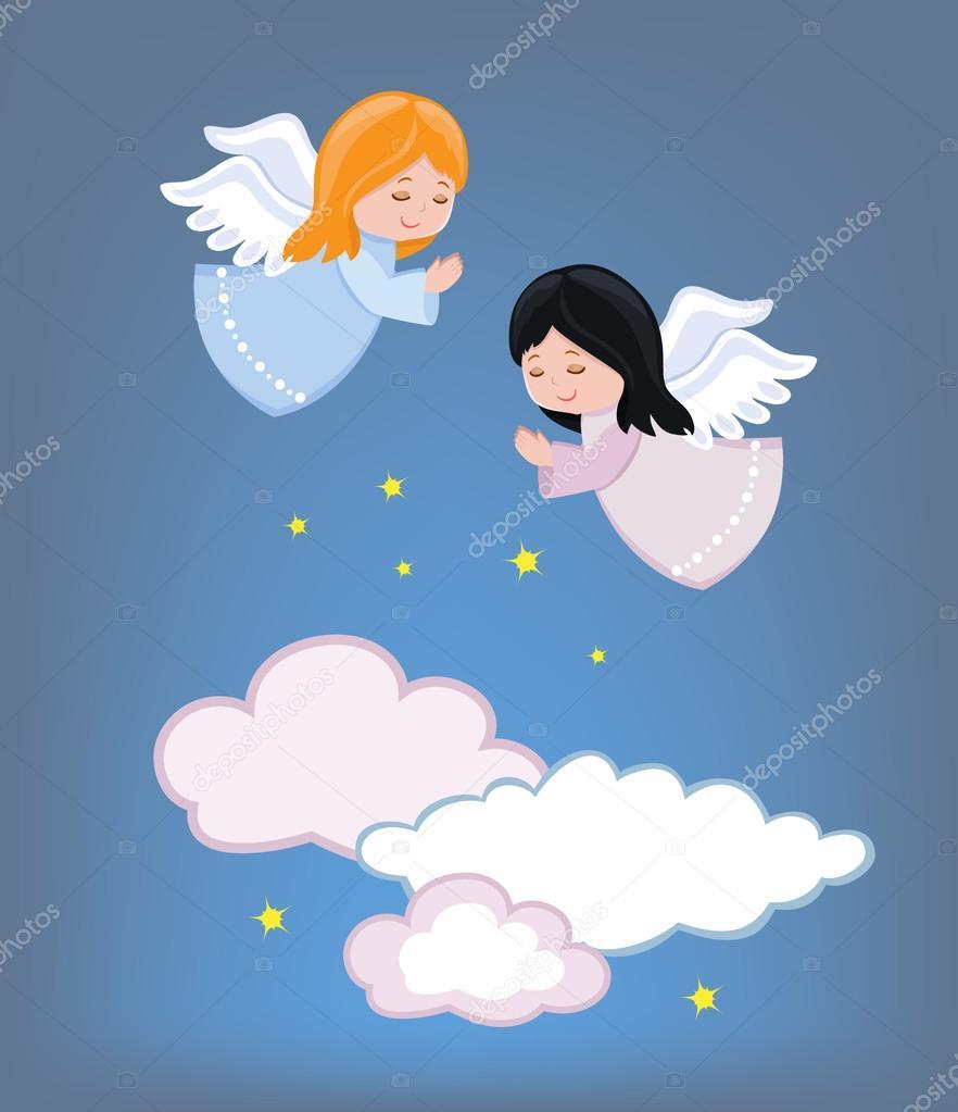 Fotos Angelitos Lindos Angelitos Volando En El Cielo Ilustración