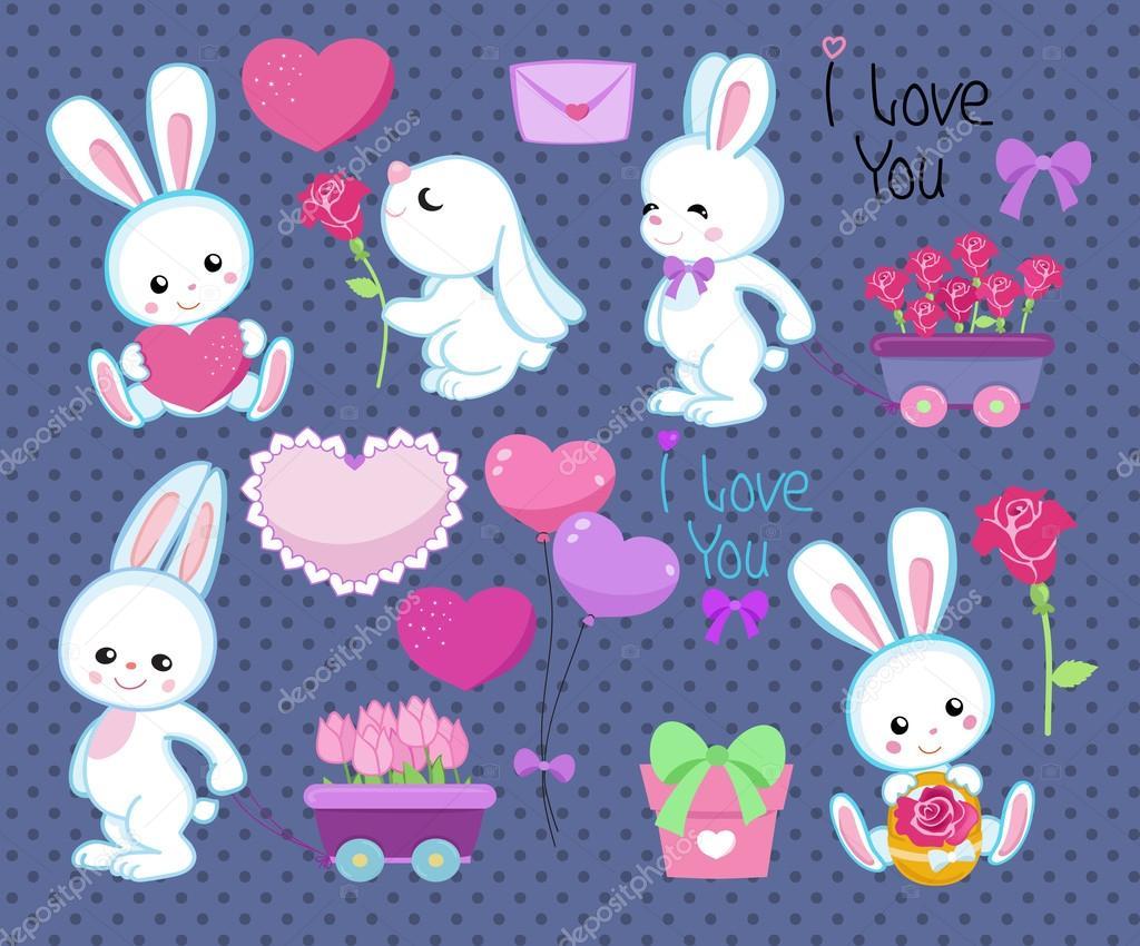Colección De Conejos De Dibujos Animados Lindo De