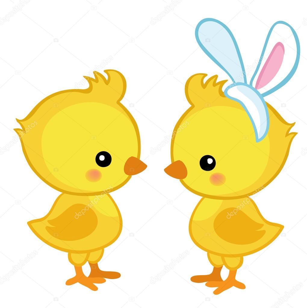 Pair of cute Easter chicks. — Stock Vector © Sandylevtov ...