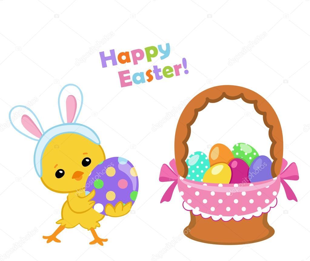 Frohe Ostern Süße Ostern Huhn Ein Ei Halten Vektor Illustration