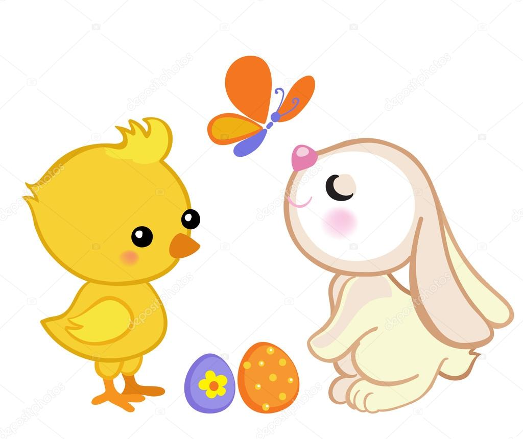 Happy Easter. Cute Easter bunny and a cute chick. — Stock ...