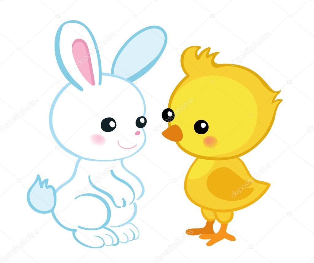 Feliz Pascua de resurrección. Lindo conejito de Pascua y un pollito ...