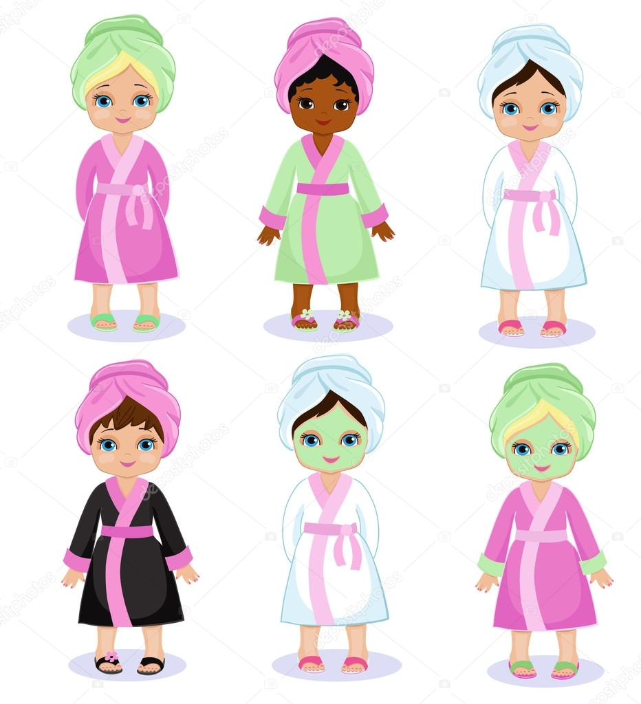 Girls In A Bathrobe Take Spa Treatments Stock Vector