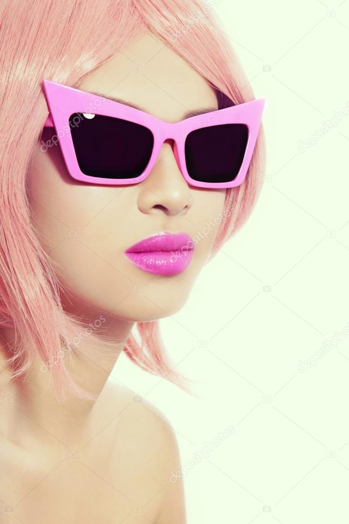 Girl With Pink Choppy Bob Haircut Stock Photo Pepperbox 105188464