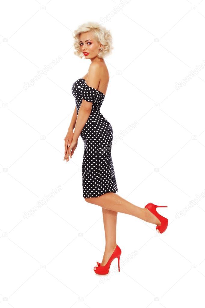 Skinny Blonde Teen Kleid