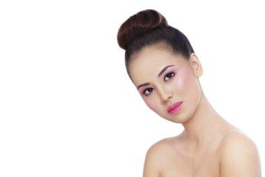 asian girl with shiny pink makeup