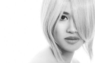 asian girl with stylish haircut