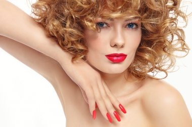 woman with stylish manicure and red lipstick