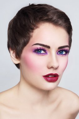 woman with stylish violet make-up
