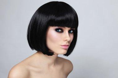 woman with stylish bob haircut