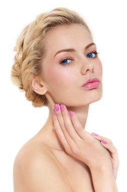 woman with fresh pink make-up