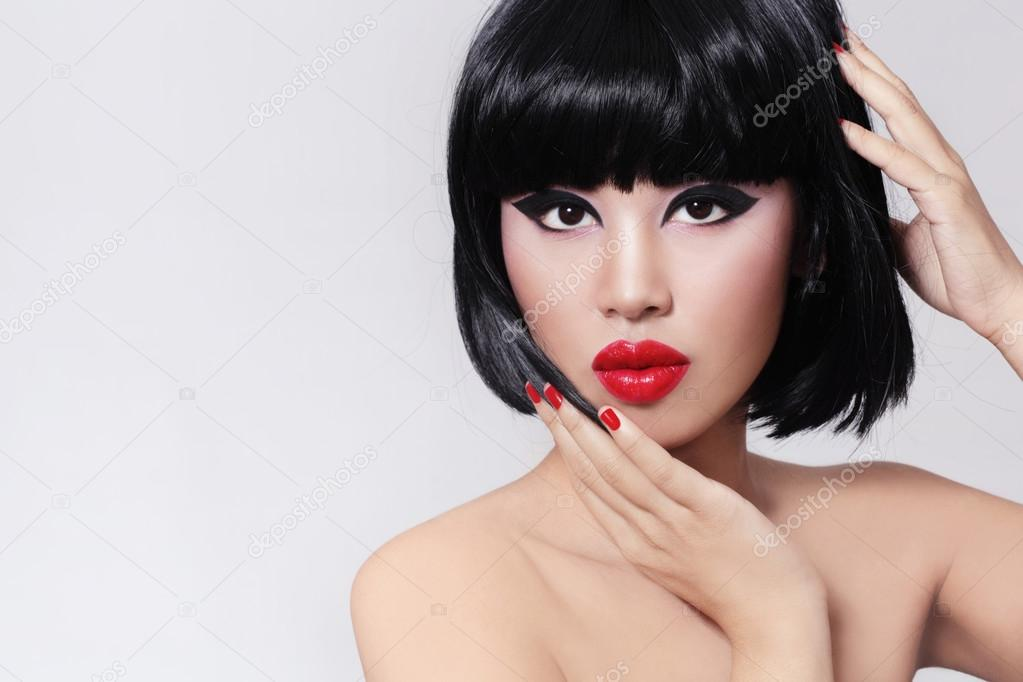 Girl With Bob Haircut And Red Lipstick Stock Photo Pepperbox