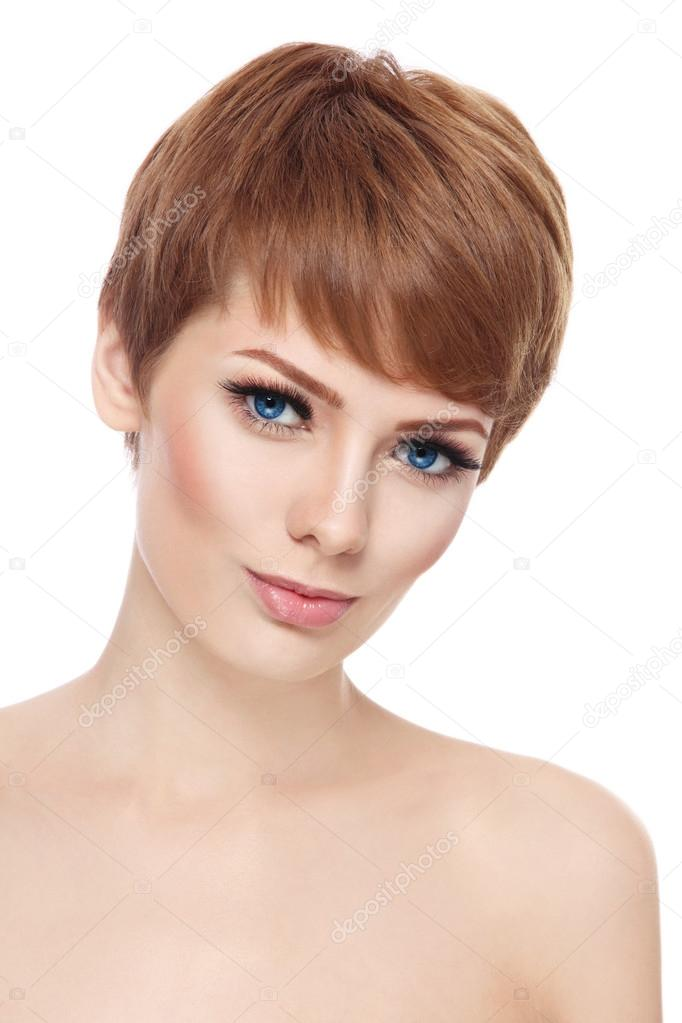 Woman With Short Haircut And Fresh Make Up Stock Photo Pepperbox