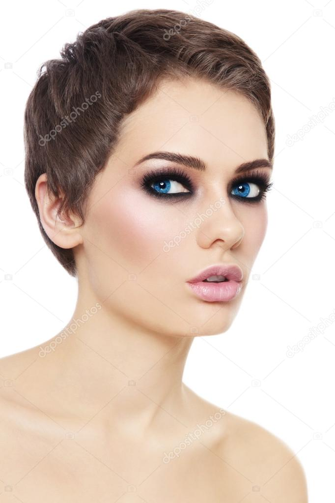 Woman With Short Haircut And Smoky Eyes Stock Photo Pepperbox