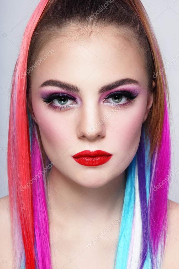 Girl With Colorful Hair Extensions Stock Photo Pepperbox 75728687