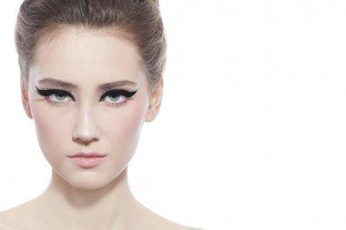 woman with stylish cat eye make-up
