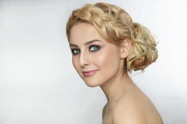 woman with stylish prom hairdo