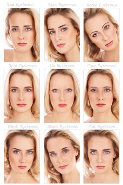 woman with various eyebrows styles