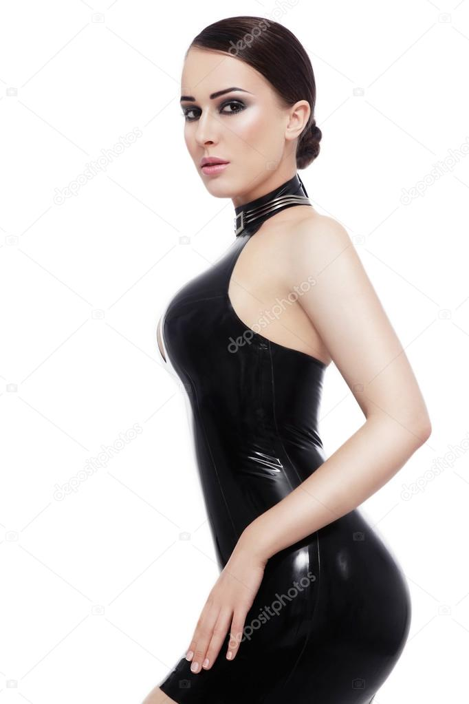 Woman In Black Latex Dress Stock Photo Pepperbox 93409314