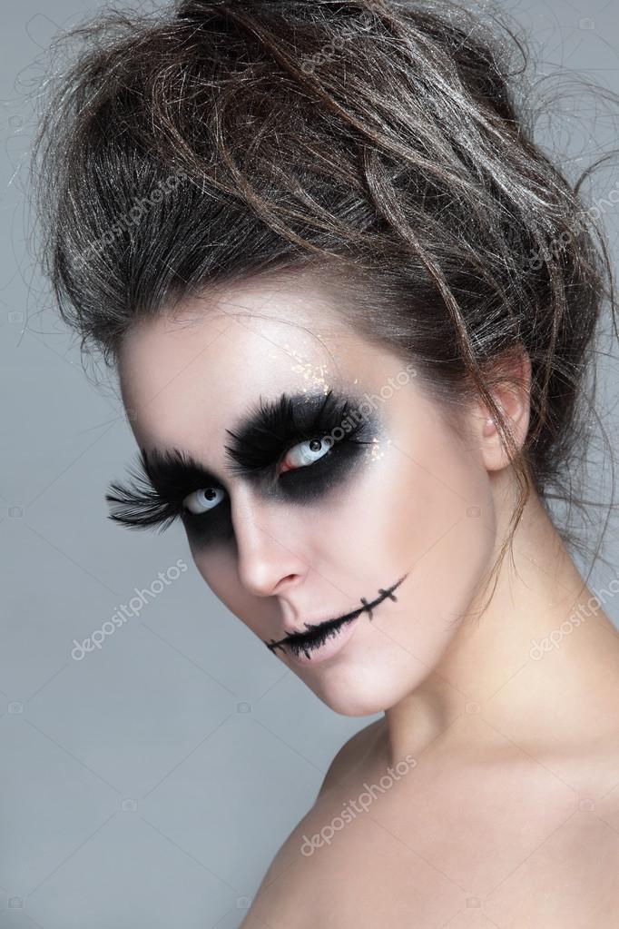 Femme Avec Elegant Maquillage Halloween Photographie Pepperbox