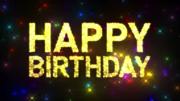Looping HAPPY BIRTHDAY Marquee over Glitter Multicolored Star Background