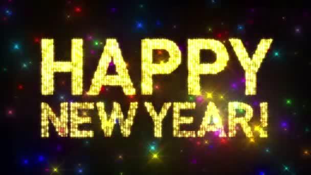 Schleifen, frohes neues Jahr! Laufschrift über Glitter bunte Sterne Hintergrund