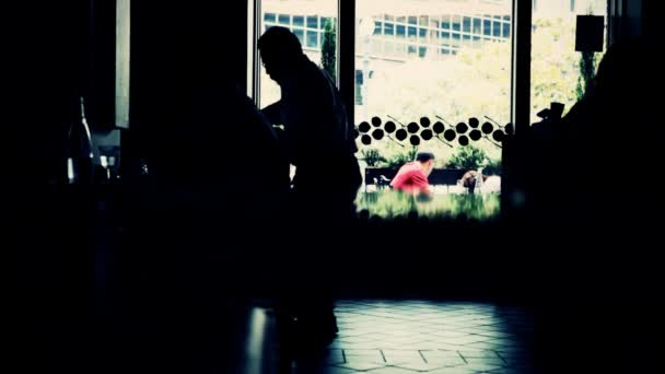 Silhouettes People working in Cafe