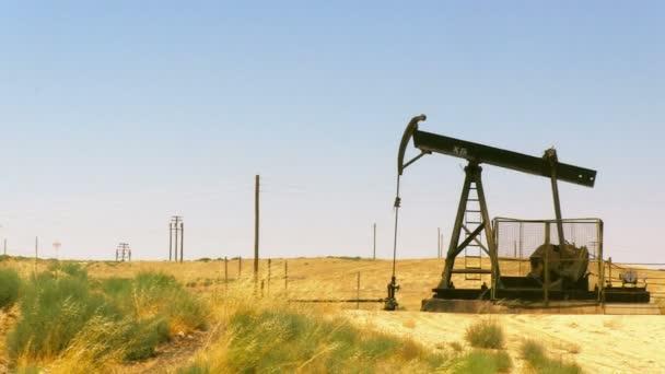 oil rig pumping oil in field