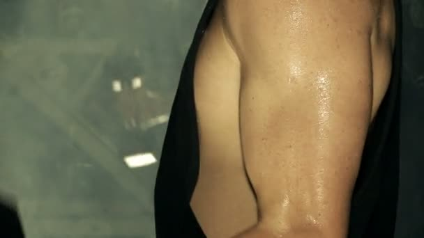 Close up of Young Man Bicep Curl Routine